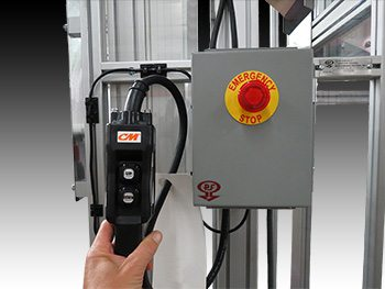 Space-saving hoist elevator system with interlock switch.
