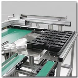 Belt Conveyor Tray Feeder - Automatic Tray Placement for Robtic Load or Unload