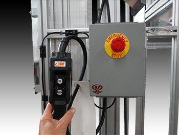 Space-saving hoist elevator system with interlock switch.